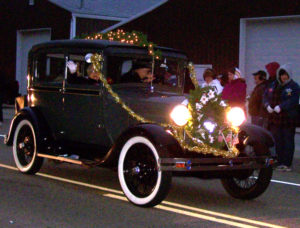 Antique car in the nighttime parade!